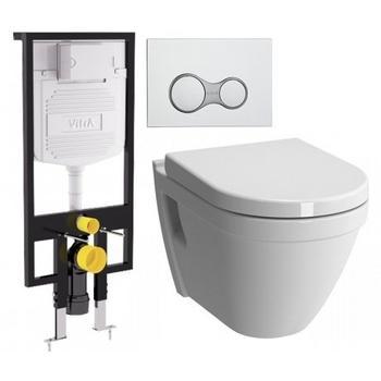 Унитаз подвесной КОМПЛЕКТ Vitra S50 с инталляцией, кнопкой, сиденьем м/лифт