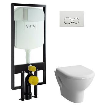 Унитаз подвесной КОМПЛЕКТ Vitra Zentrum с инталляцией, кнопкой, сиденьем м/лифт