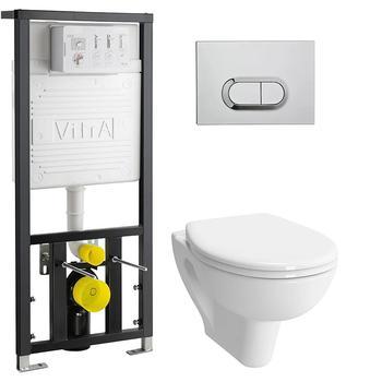 Унитаз подвесной КОМПЛЕКТ Vitra S20 безободкоковый с инсталляцией, кнопкой, сиденьем м/лифт