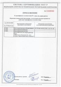 Сертификат соответствия (приложение).